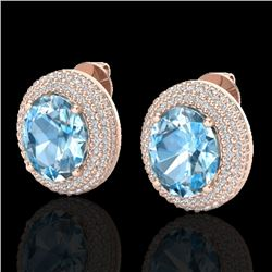 10 CTW Sky Blue Topaz & Micro Pave VS/SI Diamond Earrings 14K Rose Gold - REF-143X6T - 20217