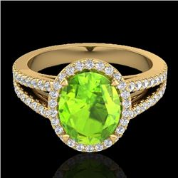 3 CTW Peridot & Micro VS/SI Diamond Halo Solitaire Ring 18K Yellow Gold - REF-72T2X - 20946