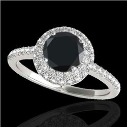 2.15 CTW Certified Vs Black Diamond Solitaire Halo Ring 10K White Gold - REF-87H3W - 33682