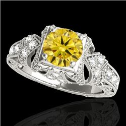 1.25 CTW Certified Si Intense Yellow Diamond Solitaire Antique Ring 10K White Gold - REF-167N3Y - 34