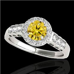 1.55 CTW Certified Si Fancy Intense Yellow Diamond Solitaire Halo Ring 10K White Gold - REF-180T2X -
