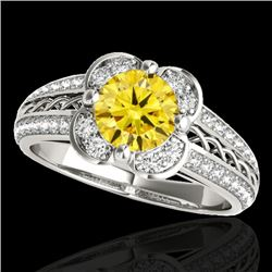 1.5 CTW Certified Si Fancy Intense Yellow Diamond Solitaire Halo Ring 10K White Gold - REF-180M2F -