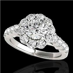 3 CTW H-SI/I Certified Diamond Solitaire Halo Ring 10K White Gold - REF-410K9R - 33553