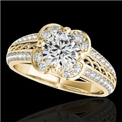 1.5 CTW H-SI/I Certified Diamond Solitaire Halo Ring 10K Yellow Gold - REF-180H2W - 34258