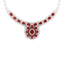38.46 CTW Royalty Ruby & VS Diamond Necklace 18K Rose Gold - REF-654M5F - 39034