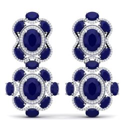 33.5 CTW Royalty Sapphire & VS Diamond Earrings 18K White Gold - REF-490N9Y - 39315