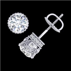1.85 CTW VS/SI Diamond Solitaire Art Deco Stud Earrings 18K White Gold - REF-234F5M - 36857