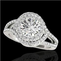 1.9 CTW H-SI/I Certified Diamond Solitaire Halo Ring 10K White Gold - REF-209T3X - 34387