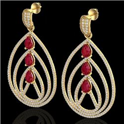 4 CTW Ruby & Micro Pave VS/SI Diamond Certified Designer Earrings 18K Yellow Gold - REF-255F5M - 224