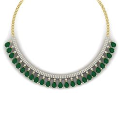 51.75 CTW Royalty Emerald & VS Diamond Necklace 18K Yellow Gold - REF-1072F8M - 38873