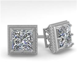 2.0 CTW VS/SI Princess Diamond Stud Earrings 14K White Gold - REF-512K8R - 29784