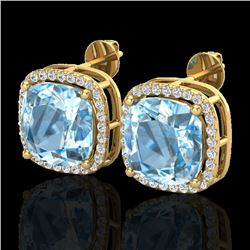 12 CTW Sky Blue Topaz & Micro Halo VS/SI Diamond Earrings 18K Yellow Gold - REF-83K3R - 23072