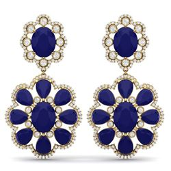 33.88 CTW Royalty Sapphire & VS Diamond Earrings 18K Yellow Gold - REF-436H4W - 39161