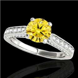 1.6 CTW Certified Si Fancy Intense Yellow Diamond Solitaire Ring 10K White Gold - REF-180R2K - 34923