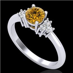 0.75 CTW Intense Fancy Yellow Diamond Engagement Classic Ring 18K White Gold - REF-101K8R - 37588