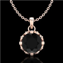 1.14 CTW Fancy Black Diamond Solitaire Art Deco Stud Necklace 18K Rose Gold - REF-81T8X - 37374