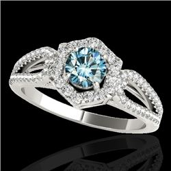1.43 CTW SI Certified Fancy Blue Diamond Solitaire Halo Ring 10K White Gold - REF-176M4F - 34021
