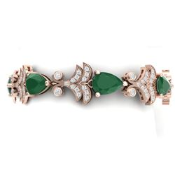 24.8 CTW Royalty Emerald & VS Diamond Bracelet 18K Rose Gold - REF-472N8Y - 38731