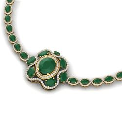 47.43 CTW Royalty Emerald & VS Diamond Necklace 18K Yellow Gold - REF-981W8H - 39329