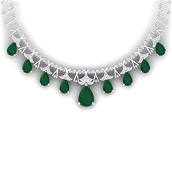 56.94 CTW Royalty Emerald & VS Diamond Necklace 18K White Gold - REF-1236W4H - 38700