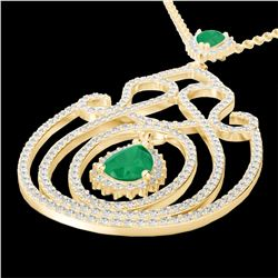 3.20 CTW Emerald & Micro Pave VS/SI Diamond Heart Necklace 14K Yellow Gold - REF-162X4T - 22438
