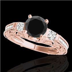 1.38 CTW Certified Vs Black Diamond Solitaire Antique Ring 10K Rose Gold - REF-63F6M - 34643