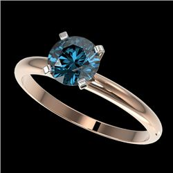 1 CTW Certified Intense Blue SI Diamond Solitaire Engagement Ring 10K Rose Gold - REF-136H4W - 32891