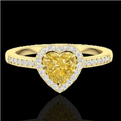 1 CTW Citrine & Micro Pave Ring Heart Halo 14K Yellow Gold - REF-34K9R - 21404