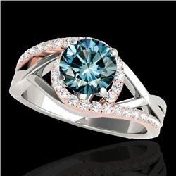 1.3 CTW SI Certified Fancy Blue Diamond Bypass Solitaire Ring 2 Tone 10K White & Rose Gold - REF-165