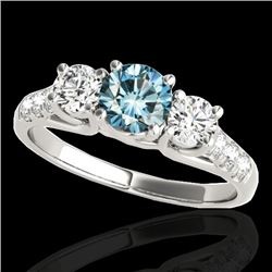 3.25 CTW SI Certified Fancy Blue Diamond 3 Stone Ring 10K White Gold - REF-394M5F - 35453