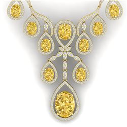 36.51 CTW Royalty Canary Citrine & VS Diamond Necklace 18K Yellow Gold - REF-800X2T - 38570