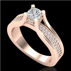 1.01 CTW Cushion VS/SI Diamond Solitaire Micro Pave Ring 18K Rose Gold - REF-200Y2N - 37161