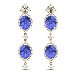 16.21 CTW Royalty Tanzanite & VS Diamond Earrings 18K Yellow Gold - REF-381N8Y - 38915