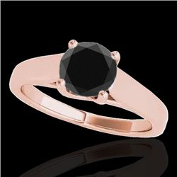 1.5 CTW Certified Vs Black Diamond Solitaire Ring 10K Rose Gold - REF-59W6H - 35538