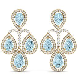 30.54 CTW Royalty Sky Topaz & VS Diamond Earrings 18K Yellow Gold - REF-409T3X - 39371