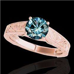 1.5 CTW SI Certified Fancy Blue Diamond Solitaire Antique Ring 10K Rose Gold - REF-236R4K - 35197