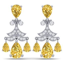 10.41 CTW Royalty Canary Citrine & VS Diamond Earrings 18K White Gold - REF-130T2X - 38727