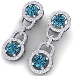 4 CTW Si/I Fancy Blue And White Diamond Earrings 18K White Gold - REF-271F4M - 40106