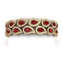21.6 CTW Royalty Designer Ruby & VS Diamond Bracelet 18K Yellow Gold - REF-818Y2N - 39485