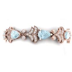 26.1 CTW Royalty Sky Topaz & VS Diamond Bracelet 18K Rose Gold - REF-381Y8N - 38740