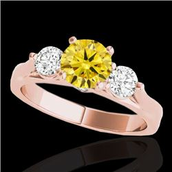 1.75 CTW Certified Si Fancy Intense Yellow Diamond 3 Stone Ring 10K Rose Gold - REF-241K8R - 35384