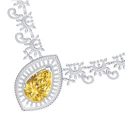 53.17 CTW Royalty Canary Citrine & VS Diamond Necklace 18K White Gold - REF-1309N3Y - 39786