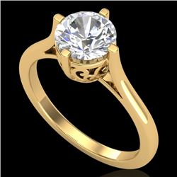 1.25 CTW VS/SI Diamond Solitaire Art Deco Ring 18K Yellow Gold - REF-490N9Y - 37228