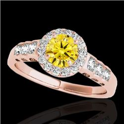 1.55 CTW Certified Si Fancy Intense Yellow Diamond Solitaire Halo Ring 10K Rose Gold - REF-180Y2N -