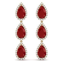 27.06 CTW Royalty Designer Ruby & VS Diamond Earrings 18K Yellow Gold - REF-400R2K - 38846