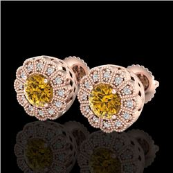 1.32 CTW Intense Fancy Yellow Diamond Art Deco Stud Earrings 18K Rose Gold - REF-160W2H - 37841