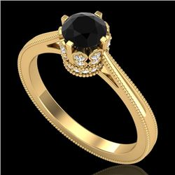 0.81 CTW Fancy Black Diamond Solitaire Engagement Art Deco Ring 18K Yellow Gold - REF-78N2Y - 37333
