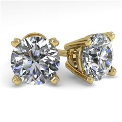 2.53 CTW Certified VS/SI Diamond Stud Earrings 14K Yellow Gold - REF-674N4Y - 30599