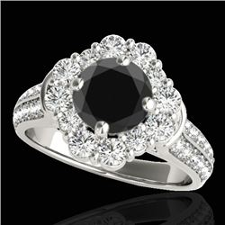 2.16 CTW Certified Vs Black Diamond Solitaire Halo Ring 10K White Gold - REF-112F4M - 33952