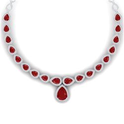 51.41 CTW Royalty Ruby & VS Diamond Necklace 18K White Gold - REF-1018K2R - 39423